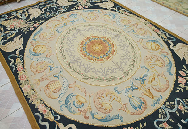 6 X 9 Aubusson Victorian Floral Rug Hand Woven Medallion