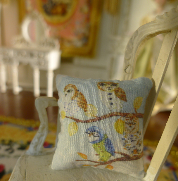 Fine 2 Pairs of Cute Owls Beautiful Colors Dollhouse 1:12 Pillow