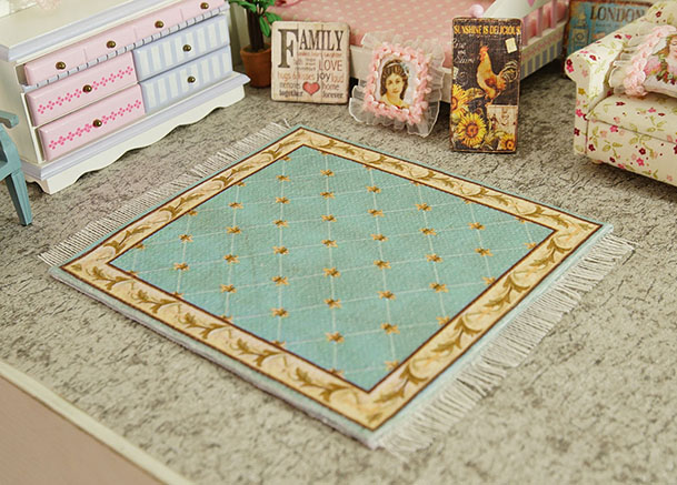 Vintage Blue Grids French Country Coffee Miniature 1:12 Rug