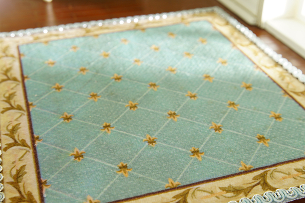 Unique French Aubusson Design Swirls Nice Lace Grids Dollhouse 1//12 Rug