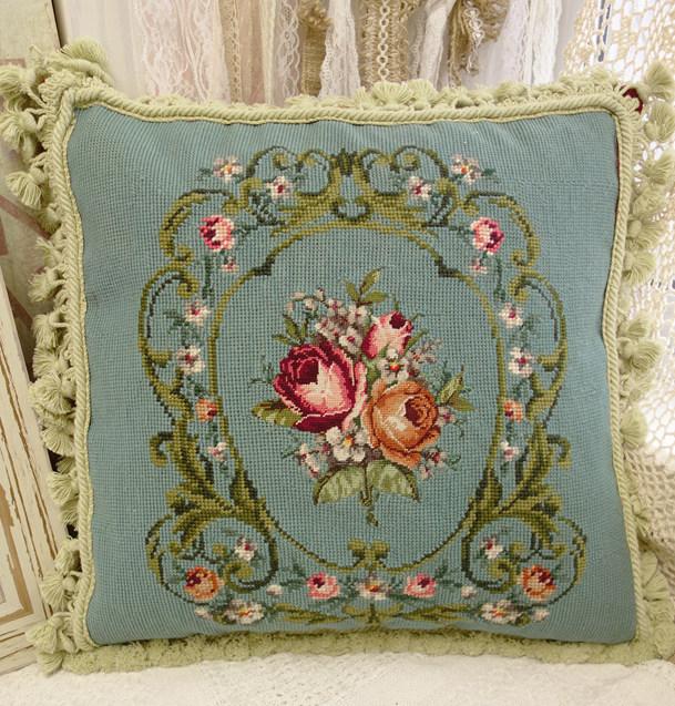 Oriental Floral Pattern Lovely Vintage Needlepoint
