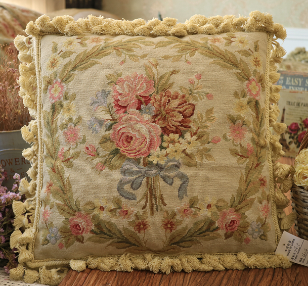 Throw Pillow 16/×16 Inches Needlepoint Kit Bouquet of Wildflower European Quality Printed Tapestry Canvas