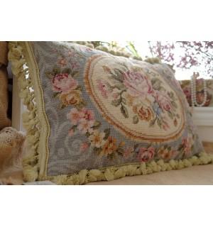"20"" So Stunning European Style Gorgeous Handmade Blue Needlepoint Pillow Cushion"