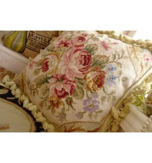 "16"" French Country Chic Shabby Light Tone Handmade Needlepoint Pillow Cushion"