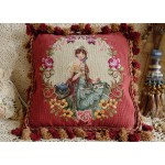 "16"" Gorgeous Dual Color Fringes Needlepoint Pillow Lady In Floral Garland #1"