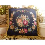 "18"" Beautiful Needlepoint Pillow Cushion Rose & Floral Garland"