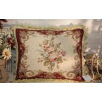"20"" Red Beige Chic Shabby Handcrafted Sofa Chair Needlepoint Pillow Cushion"