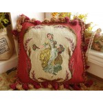 "16"" Vintage Needlepoint Pillow Beautiful Young Victorian Girl With Bouquet"