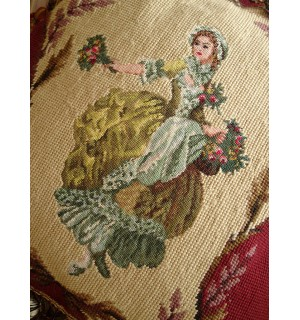 """16"""" Vintage Needlepoint Pillow Beautiful Young Victorian Girl With Bouquet"""
