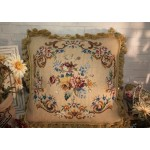 "18"" Old VTG English Country Shabby Handcrafted Wool Needlepoint Pillow"