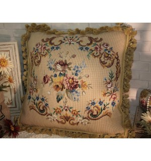 """18"""" Old VTG English Country Shabby Handcrafted Wool Needlepoint Pillow"""
