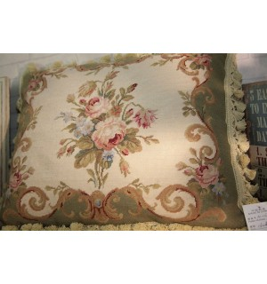 """20"""" Green Beige Chic Shabby Handcrafted Sofa Chair Needlepoint Pillow Cushion"""
