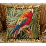 "18"" Vintage Hand-Woven Authentic Tapestry Aubusson Pillow The Splendid Macaw"