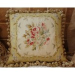 "18"" Vintage Chic Shabby LUXURY NATURAL SILK Hand-Woven Rose Aubusson Pillow"