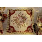 "16"" French Country Vintage Soft Shabby Handmade Needlepoint Pillow Cushion"