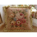 "16"" European Country Style Wool Hand Stitched Floral Needlepoint Pillow Cushion"
