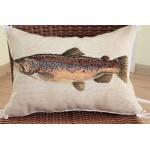 Vivid Salmon Fish Hand Crafted Stitched Wool Petit Point Needlepoint Pillow Sham