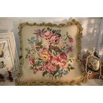 "18"" Country Lily Daisy Rose Peony Gorgeous Floral Petit Point Needlepoint Pillow"