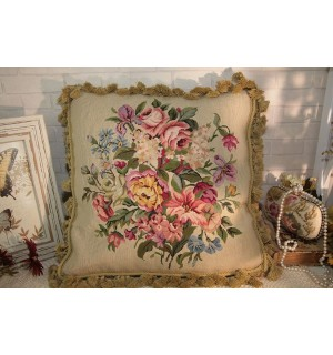 """18"""" Country Lily Daisy Rose Peony Gorgeous Floral Petit Point Needlepoint Pillow"""
