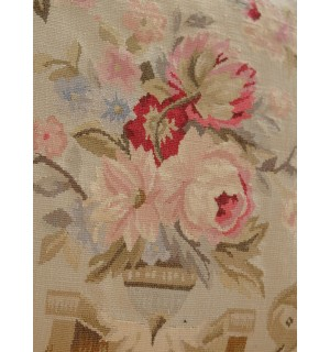 "18"" Burgandy Pastel Authentic Handmade Rose in urn Flunt Scroll Aubusson Pillow"