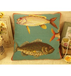 Large Sea Fish Handmade Charm Home Decor Wool Needlepoint Pillow Cushion 20""