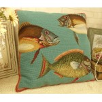 "20"" Large Sea Fish Handmade Home Decor Wool Needlepoint Pillow Cushion"