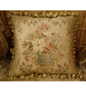 """18/"""" Gorgeous Traditional Hand-Woven 18th C Reproduction Aubusson Throw Pillow"""