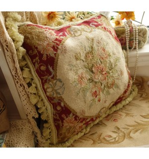 """16"""" Handmade Chic Shabby Vintage Hand Woven Wool Floral Red Needlepoint Pillow"""