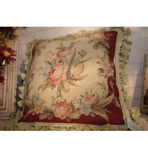 """14"""" OLD VINTAge Country Chic Shabby Handmade Sofa Needlepoint Pillow Cushion"""