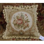 "14"" Chic Shabby Camel / White VTG Needlepoint Pillow WHOLE PETIT POINT 15K"