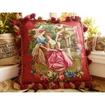 Hand Stitched Petit Point European Lovers In Garden Gorgeous Needlepoint Pillow