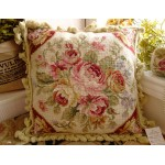 "16"" Hand Stitched Wool French Country Shabby Red Ivory Needlepoint Pillow"
