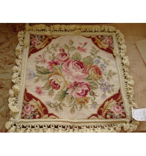 """16"""" Hand Stitched Wool French Country Shabby Red Ivory Needlepoint Pillow"""