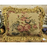 French Aubusson Rose Floral Pillow Cushion