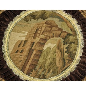 French Aubusson Round OLD Castle Design Tapestry Pillow Cushion