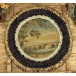 French Aubusson Round OLD Bridge Design Tapestry Pillow Cushion