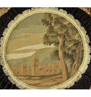 French Aubusson Round OLD Town Design Tapestry Pillow Cushion