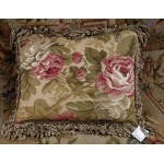 Vintage Flat Woven French Aubusson Rose Floral Pillow Cushion