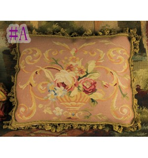 French Accent Aubusson Rose Floral Throw Wool Pillow Cushion