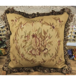 OLD Vintage Flat Woven French Aubusson Floral Pillow