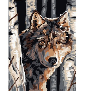 The wolf in the woods  Needlepoint Canvas