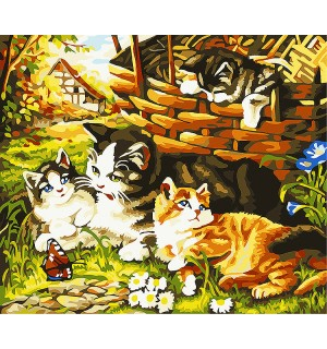 Four Cats Needlepoint Canvas