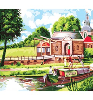 Country Cottage Along Riverside Needlepoint Canvas