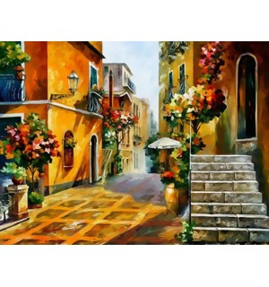 Beautiful Europe Alleyway Hand Painted Design Needlepoint Canvas