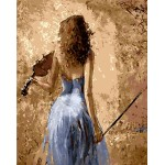 Elegant Lady In Blue Playing Violin
