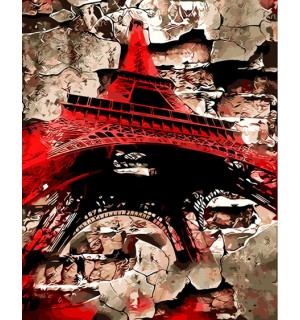 Red Eiffel Tower Beautiful Printed Needlepoint Canvas