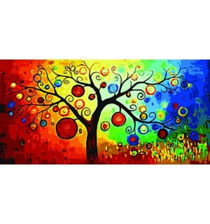 Abstract Tree With Fruits Hand Painted Design Needlepoint Canvas