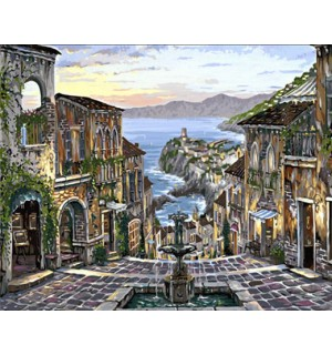 Seaside Beautiful Town Hand Painted Design Needlepoint Canvas