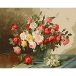 Pink Red White Yellow Roses In Glass Urn