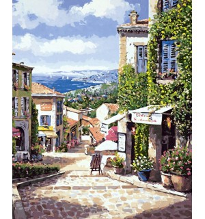 A Beautiful Seaside Town Handpainted Design Needlepoint Canvas